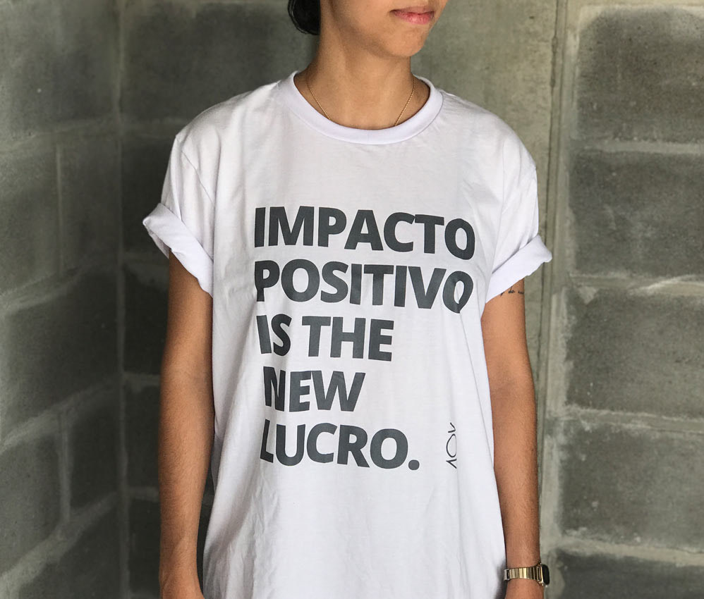camiseta - impacto positivo - branca - impressão cinza