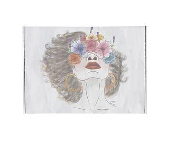 dobra - Porta Cartão - Flores e cabelo esvoaçante