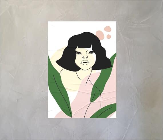dobra - Lambe Autoadesivo - Woman and plants