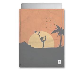 dobra - Capa Notebook - Sombras da natureza e yoga à luz do sol - laranja