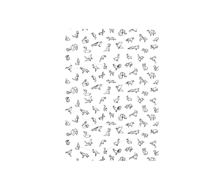 dobra - Lambe Autoadesivo - Origami Animais - Branca