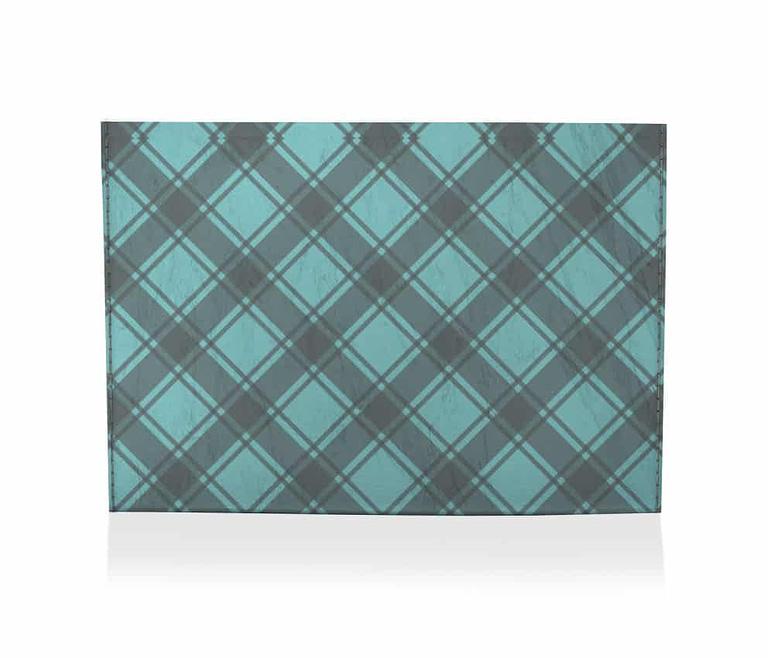 dobra porta cartao xadrezinho azul