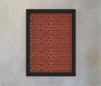 dobra - Quadro - Folhagem Dourada com fundo vermelho