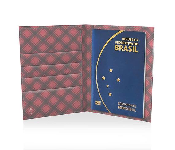 dobra passaporte xadrezinho vermelho