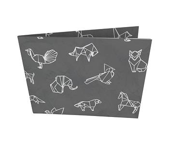 dobra - Nova Carteira Clássica - Origami Animais - Preta