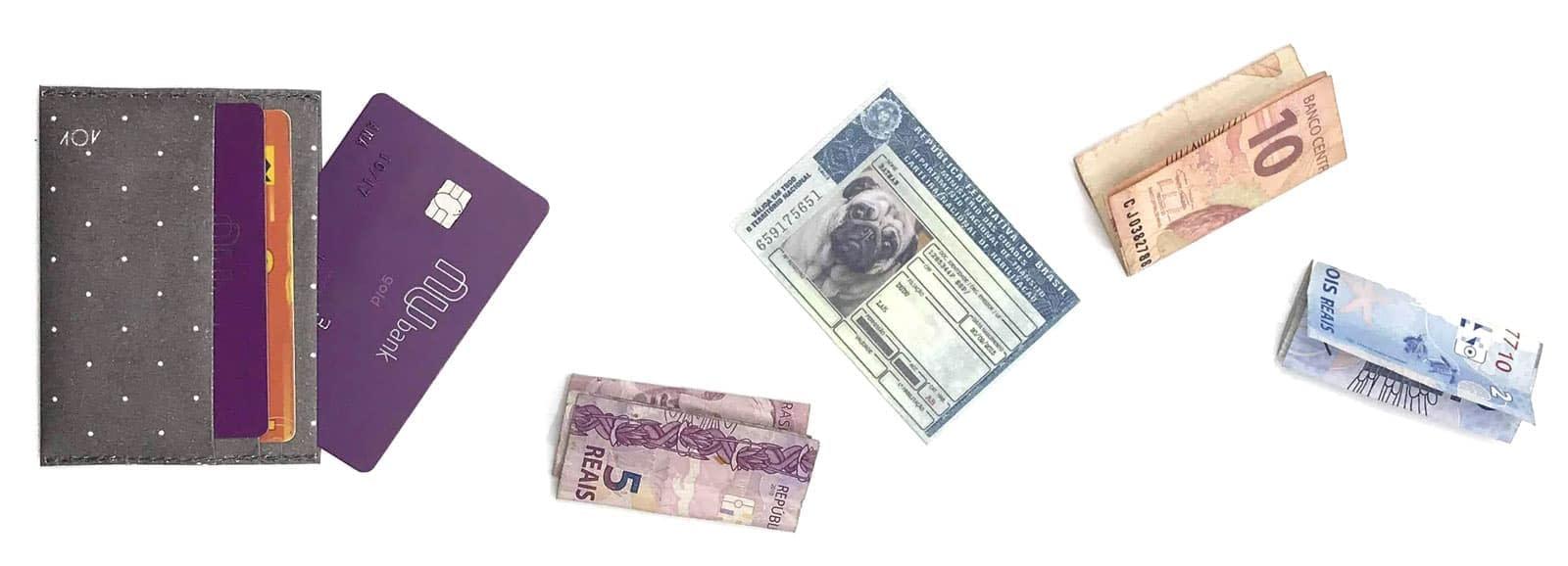 carteira porta cartão da dobra
