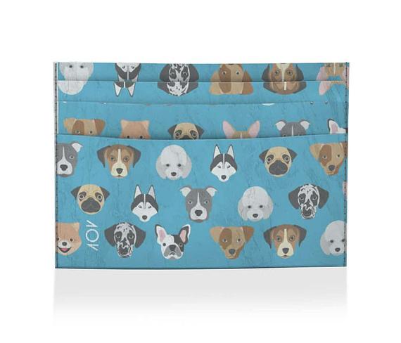 dobra porta cartao cachorrinho azul
