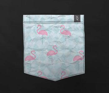 dobra bolso flamingos geométricos
