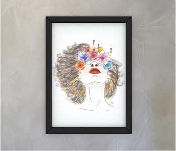dobra - Quadro - Flores e cabelo esvoaçante