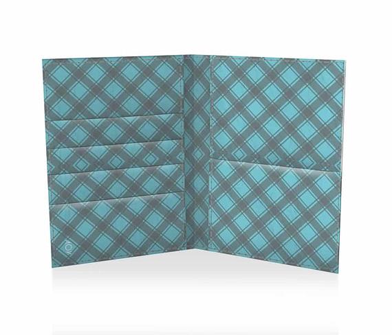 dobra passaporte xadrezinho azul