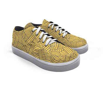 dobra tênis linhas amarelos