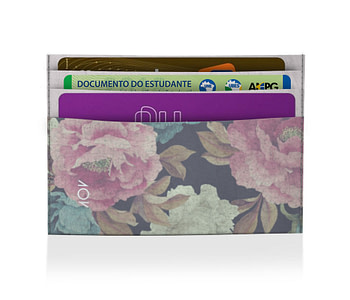 porta cartão vintage flowers