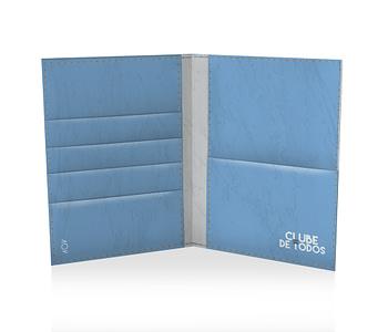 dobra porta passaporte azul e branca