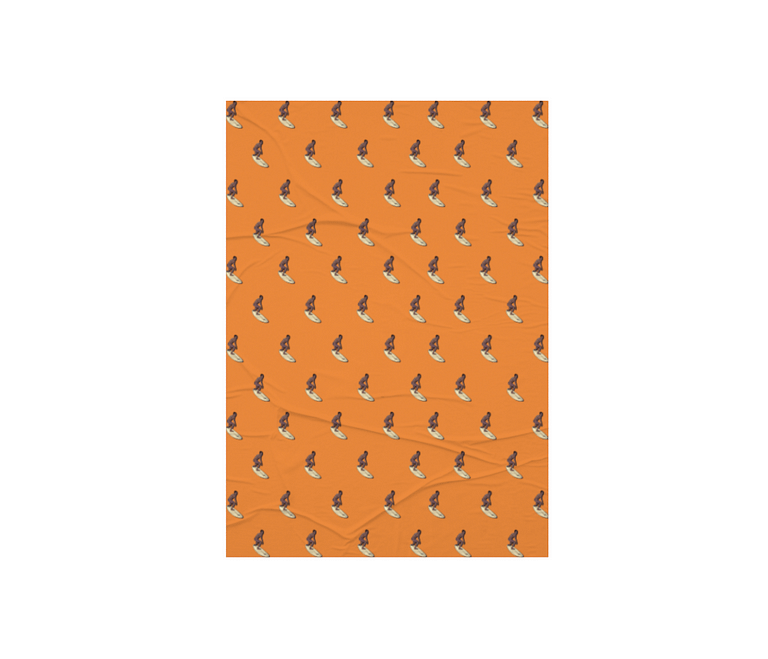 dobra - Lambe Autoadesivo - estampa surf laranja