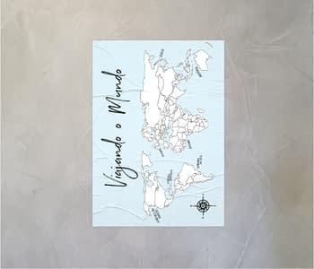 dobra - Lambe Autoadesivo - Mapa Mundi Simples <3