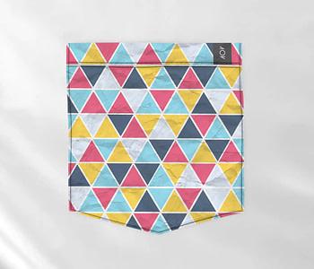 dobra bolso azulejos triangulares coloridos